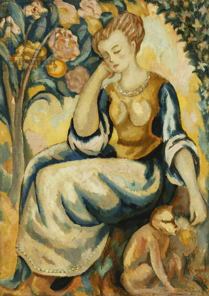 Lady with a Monkey, c.1917 (oil on canvas)