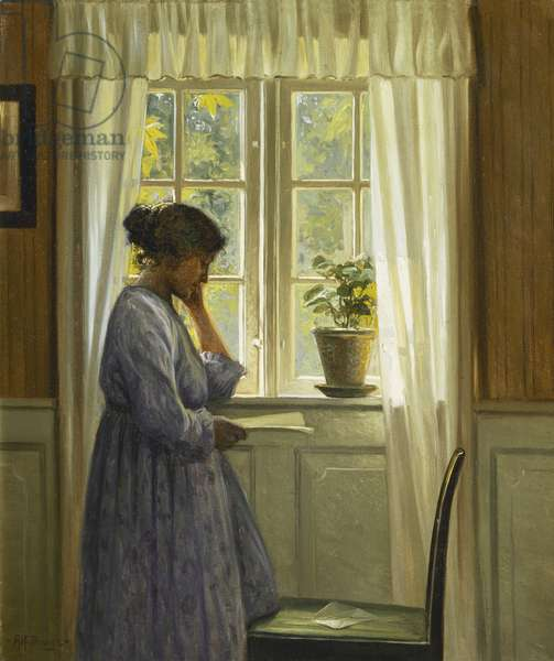 At the Window, (oil on canvas)