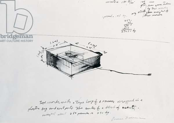 Drawing for Concrete Tape Recorder Piece, 1968 (ink on paper)