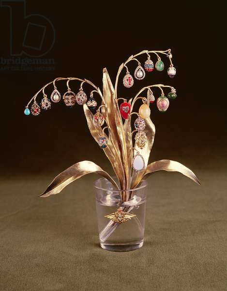 Faberge Vase with Gold Lilies of the Valley, the Flowers replaced by Miniature Eggs and Jewellery