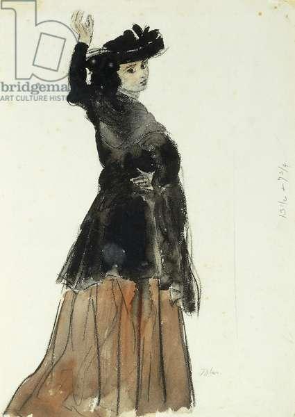 Portrait of Dorelia wearing a Black Hat, c.1910 (watercolour, bodycolour and black chalk)