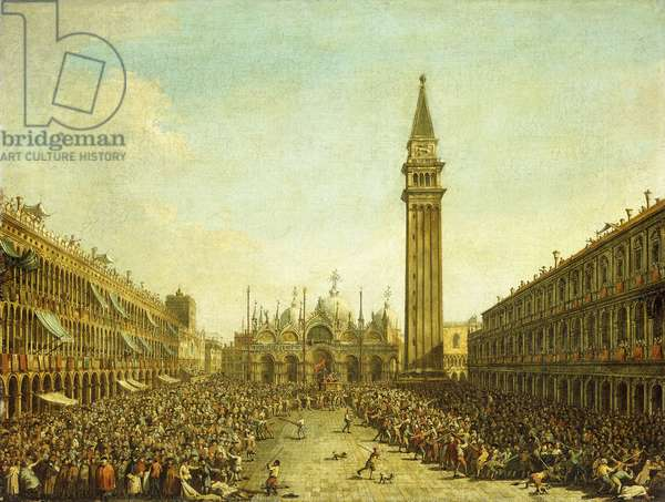 The Piazza San Marco, on the Doge's Coronation Day,  (oil on canvas)