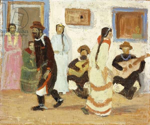 Creole Dancing; Baile Criollo,  (oil on board)