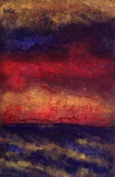 Red Cloud Over the Sea; Rote Wolken Uber dem Meer, (watercolour)