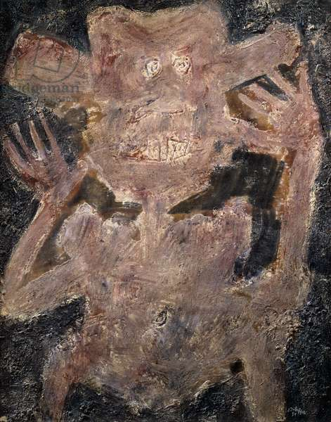 The Scare; L'Effraye, 1951 (oil and mixed media on canvas)