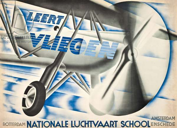 Poster advertising the National Aviation School in the Netherlands, 1931 (colour litho)