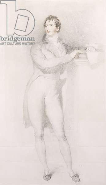 Portrait of Sir Francis Burdett, Bart, small full-length, standing by a mantelpiece, c.1796 (pencil and red chalk)