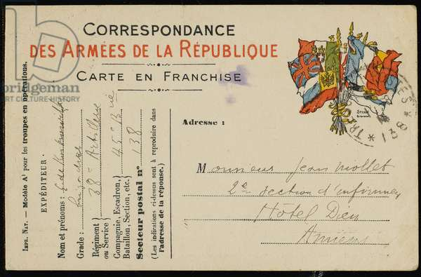Postcard to Jean Mollet, 1915 (pen & ink on card)