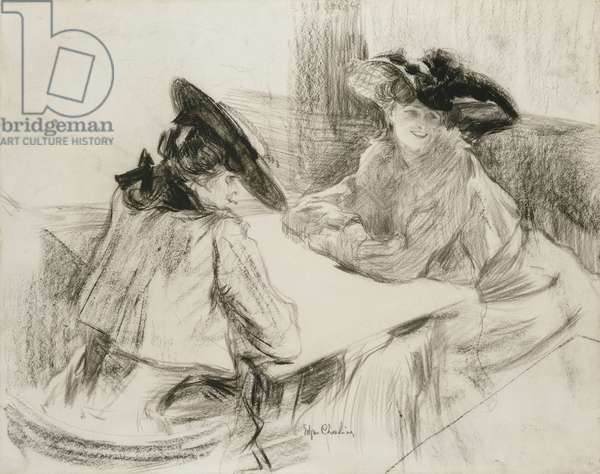 Au Cafe, (charcoal on paper laid down on board)