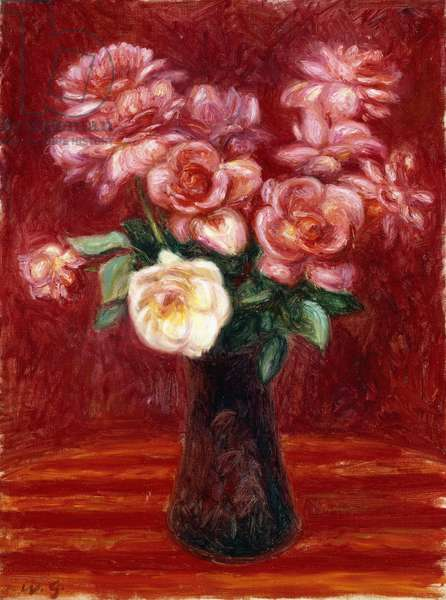 Pink Roses,  (oil on canvas)