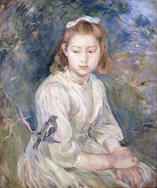 Little Girl with a Bird, 1891 (oil on canvas)