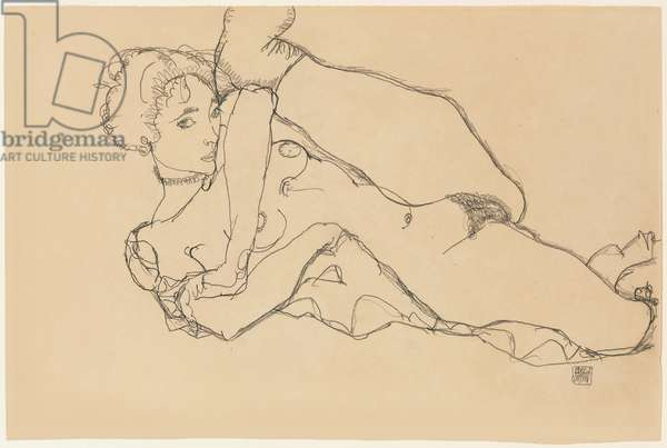 Reclining Nude with Left Leg Drawn In; Liegender Akt mit Angezogenem Linken Bein, 1914 (pencil on paper)