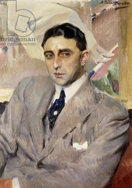 Portrait of the Actor, Ramon Pena, half-length, wearing a grey Suit,  (oil on canvas)