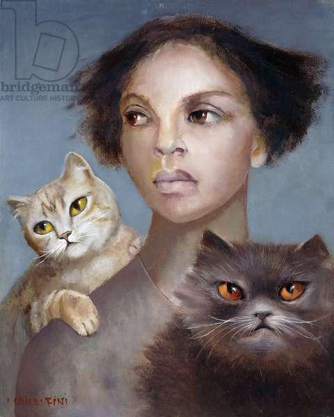 Self Portrait with Cats; Autoportrait aux Chats,  (oil on canvas)