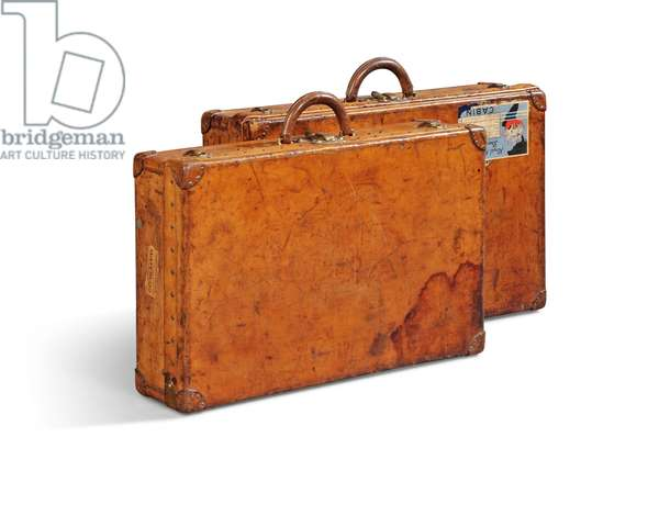 Two suitcases (leather with brass fittings)