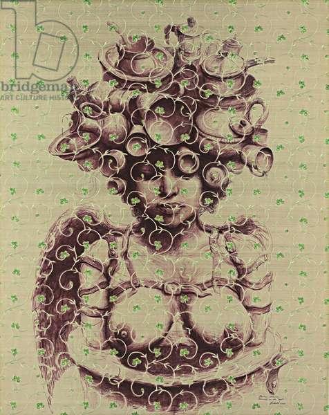 Pequena Oracion Domestica de Suyu, 2006 (acrylic on embroidered silk laid on linen)
