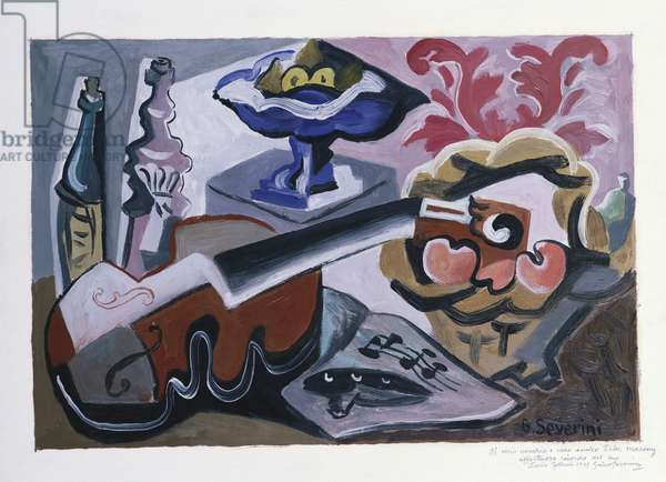 Still life with mandolin and bottles, 1946 (oil on board)