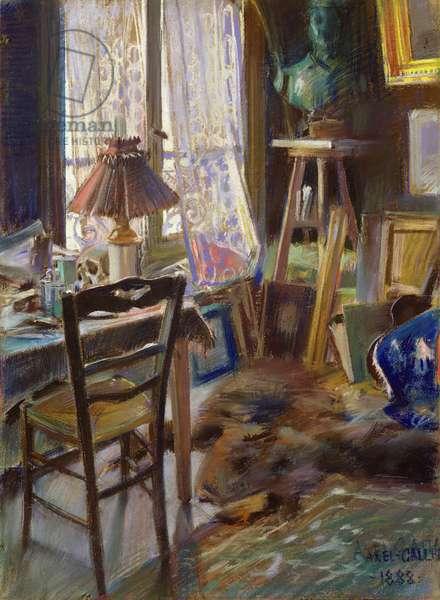 The studio of Comte Deheaulme de Vallombreuse, 36 Rue Jouffrey, Paris 1888 (pastel)