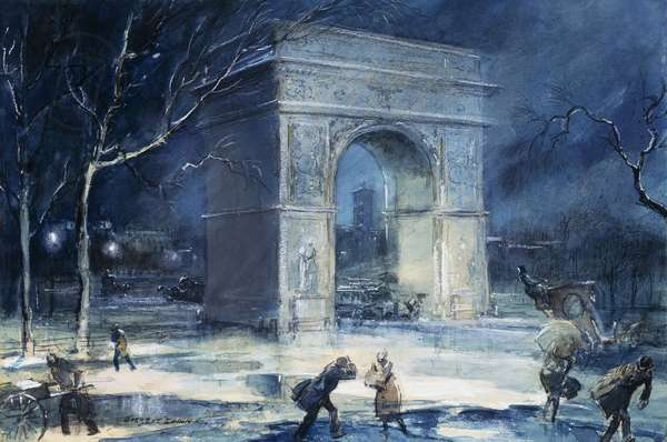 The Arch, Washington Square, 1929 (watercolour and pastel on board)