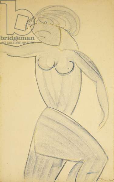 Standing Female Nude; Femme nue Debout, (coloured wax crayons on paper)