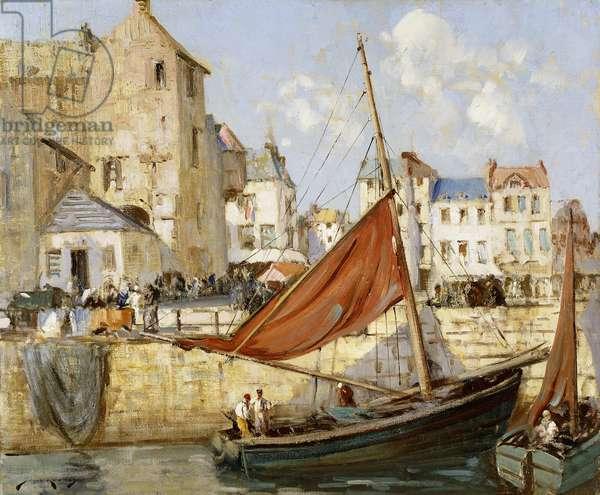 The Harbour, Honfleur,  (oil on canvas)