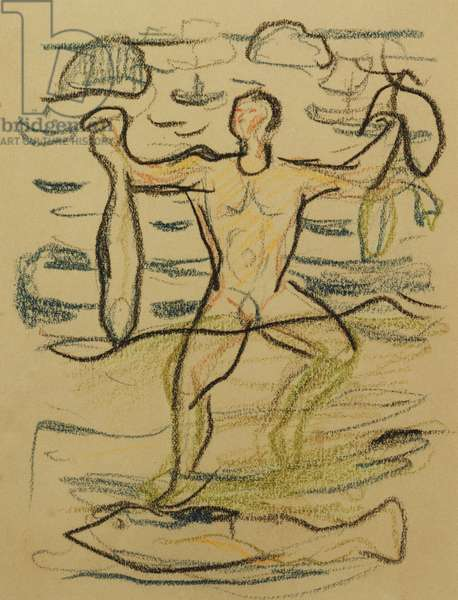Bather with Fish, c. 1915-20 (coloured chalks)
