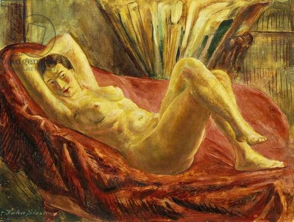 Nude and Portfolio Case, (oil on masonite)