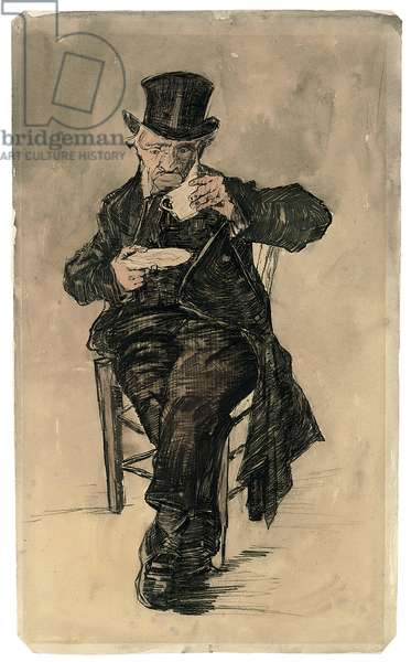Orphan Man with a Top Hat Drinking a Cup of Coffee, 1882 (black chalk, watercolour and wash on paper)