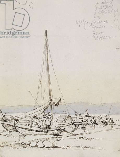 Tanka Boats on the Shore, (pen and brown ink, light brown and blue wash)