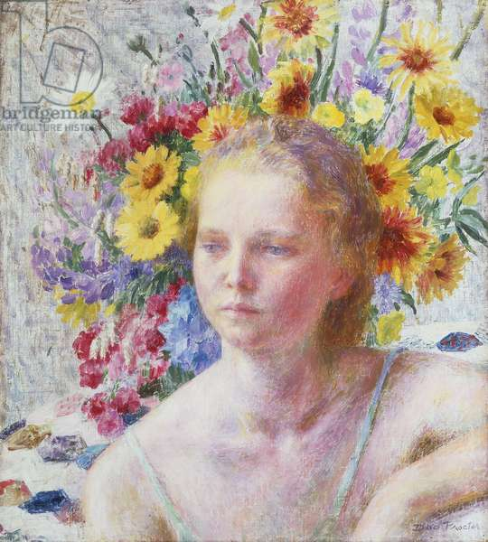 Portrait of a Young Girl with Flowers, (oil on canvas)