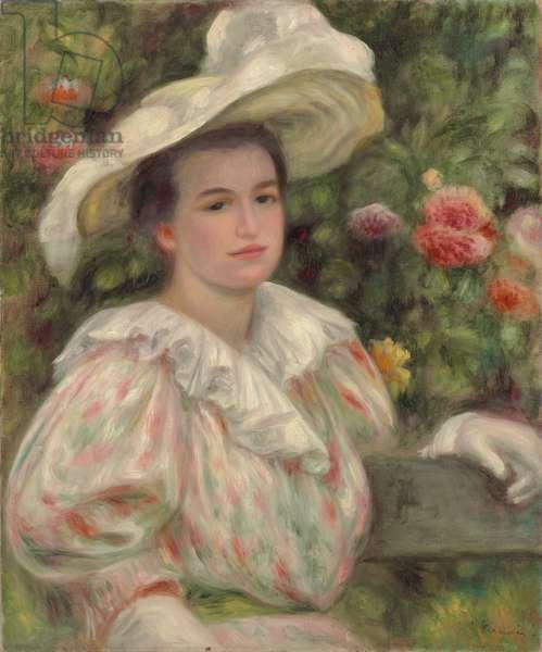 Young Girl Amongst Flowers or Woman with White Hat; Jeune fille dans les fleurs or Femme au chapeau blanc, c.1895 (oil on canvas)