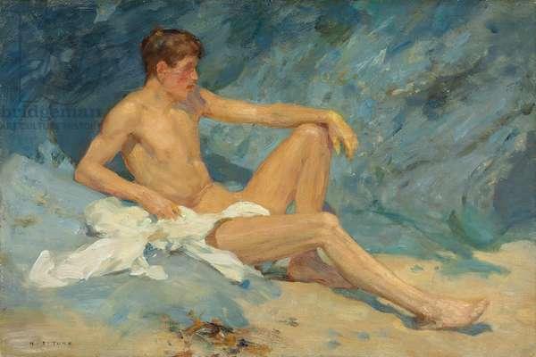 A male nude reclining on rocks (oil on canvas board)