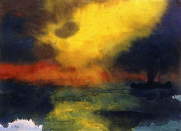 Steamer in the Sunset; Dampfer im Sonnenuntergang,  (watercolour on japan)