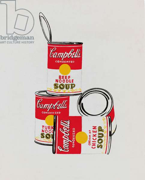 Four Campbell's Soup Cans, 1962 (casein and graphite on canvas)