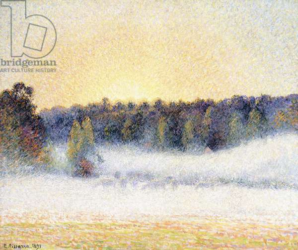 Sunset and Mist at Eragny, 1891 (oil on canvas)