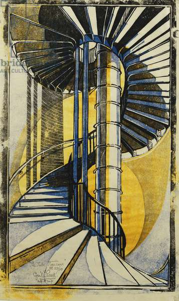 The Tube Staircase, c.1930 (linocut printed in colours on tissue Japan)
