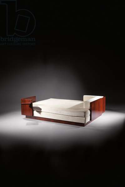 Double bed, c.1930 (Rio rosewood, patinated wrought iron & velvet)