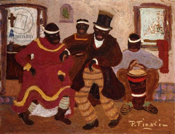 African Nostalgia (Candombe); Nostalgias Africanas (Candombe),  (oil on board)