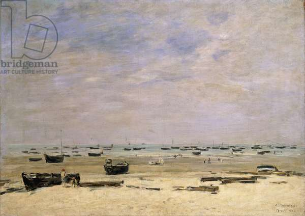 River Barges at Low Tide; Berck le Rivage a Maree Basse, 1882 (oil on canvas)