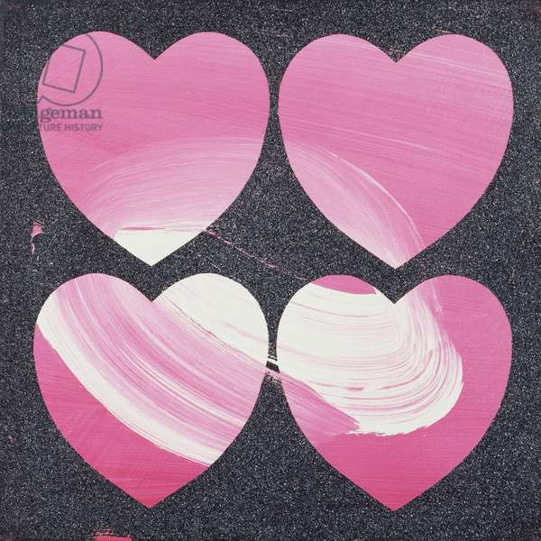 Hearts, 1981 (synthetic polymer, Silkscreen inks and diamond dust on canvas)