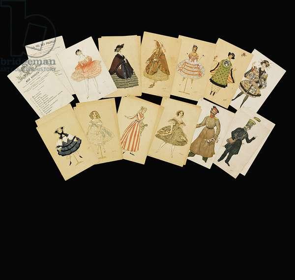 Costume designs from 'La Fee de la Poupees' (colour litho)