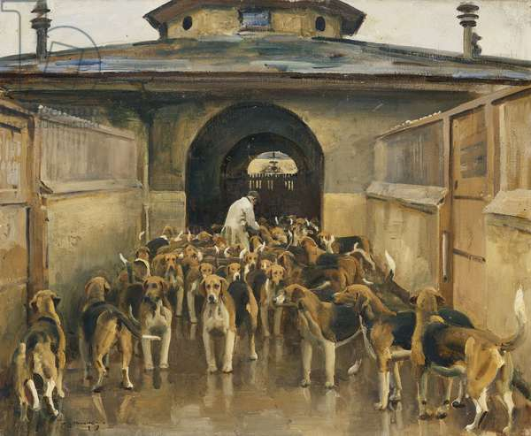 The Belvoir Kennels,  (oil on canvas)