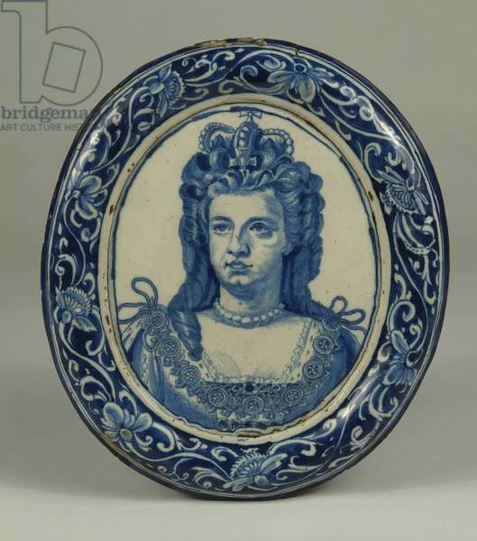 A Delft blue and white oval royal portrait plaque of Queen Anne, probably London, c.1705 (ceramic)
