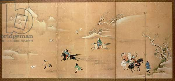 A boar hunt, Edo Period, late 18th early 19th century, (six-leaf screen in sumi colour and gofun red seal)