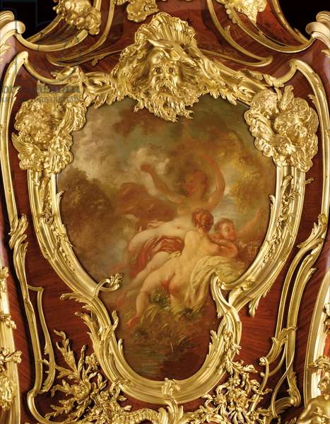 Detail of a decorated serre-bijoux, 1889 (ormolu-mounted kingwood, tulipwood, mahogany and lacquer) (see also 362851)