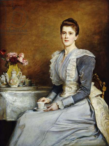 Portrait of Mrs. Joseph Chamberlain, seated three-quarter length at a tea-table, wearing a grey and white dress, 1891 (oil on canvas)