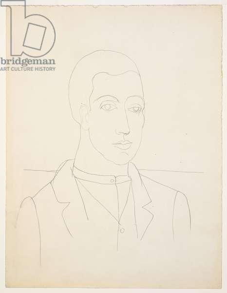 Portrait de Massine, 1917 (pencil on paper)