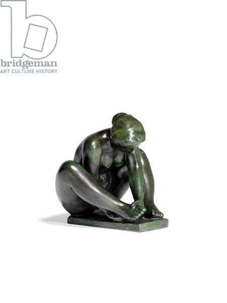 Crouching Girl Holding One Foot, 1923 (bronze)