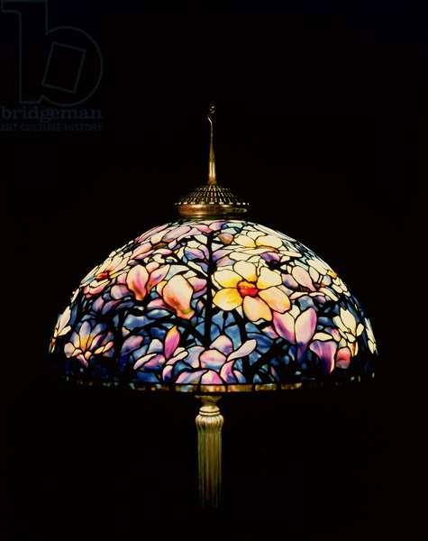 Tiffany magnolia leaded glass and bronze floor lamp, 1913