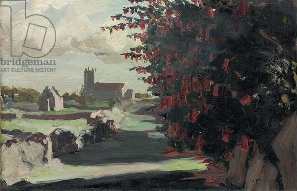 A Fuschia Hedge, Roundstone, 1916 (oil on panel)
